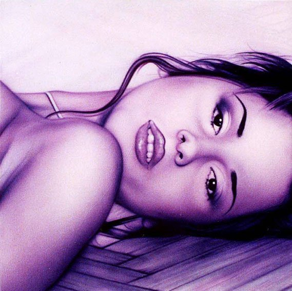 Portrait painting of a reclining woman face in purple acrylic inks.