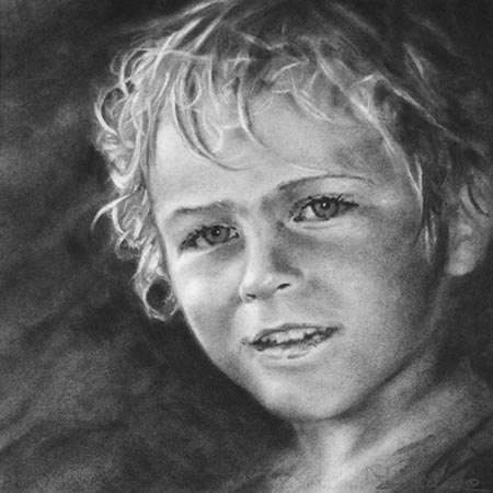 A Charcoal drawing portrait of young boy.
