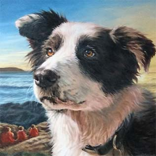 Dog portrait in oil paint on canvas