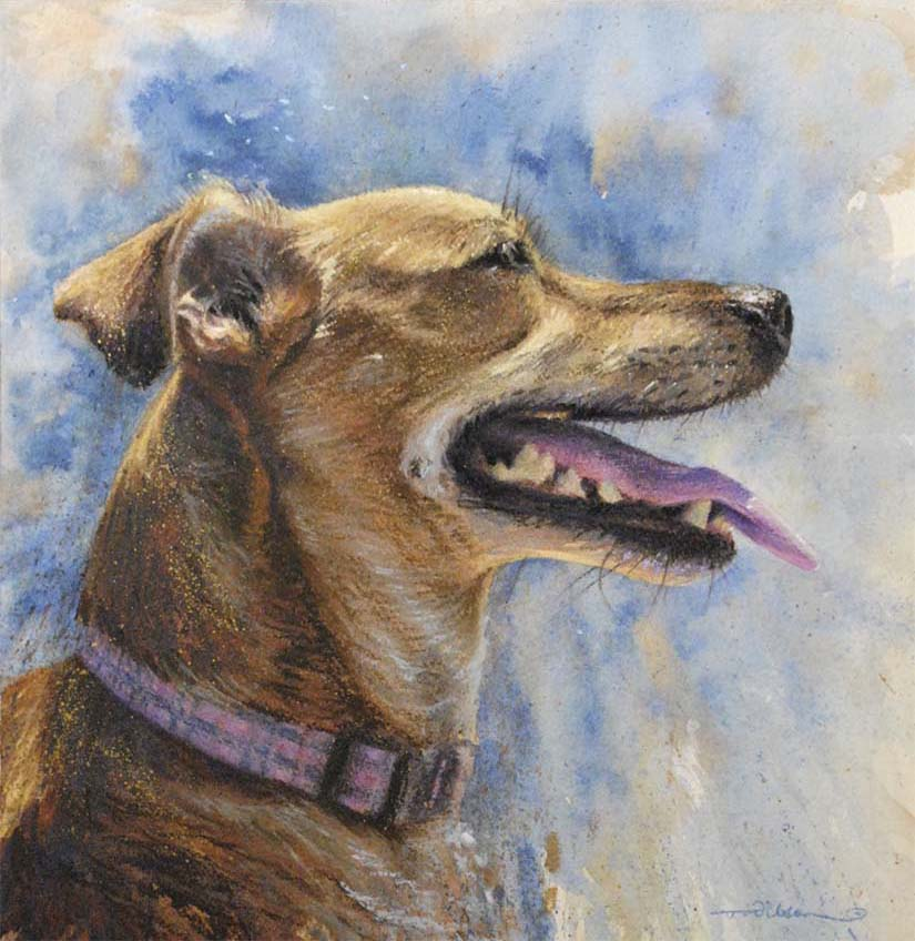 Portrait in watercolour paint of a happy ginger dog