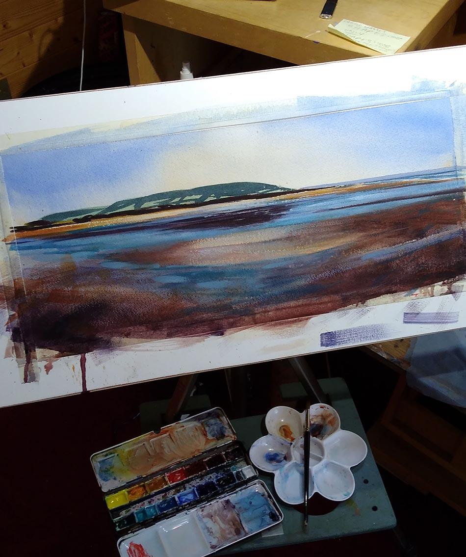 Watercolour painting of Croyde beach North Devon.